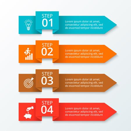 flecha: Flujo de trabajo de infografía flechas. Plantilla para el diagrama, gráfica, la presentación y el gráfico. Concepto de negocio con 4 opciones, partes, etapas o procesos. Disposición con barra de menús. Vectores