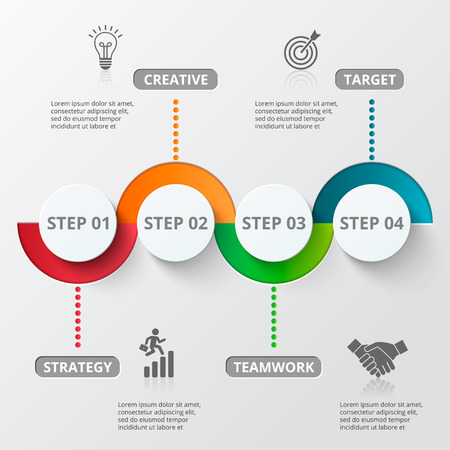 Modelo del diseño y comercialización iconos de Infografía. Plantilla para el diagrama, gráfica, la presentación y el gráfico ronda. Concepto de negocio con 4 opciones, partes, etapas o procesos. Visualización de datos.