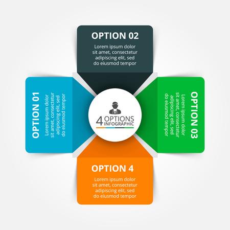 diagrama: elementos para la infografía. Plantilla para el diagrama del ciclo, gráfico, la presentación y el gráfico ronda. Concepto de negocio con 4 opciones, partes, etapas o procesos. Fondo abstracto.
