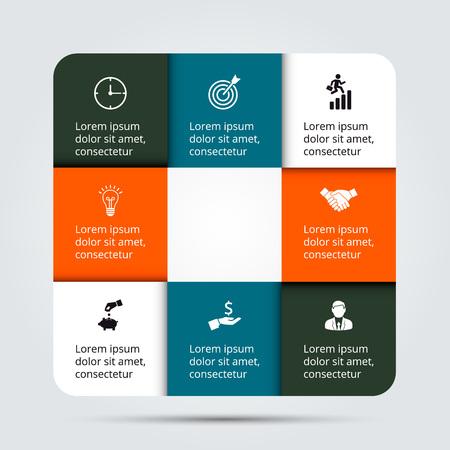gráfico: modelo de design infográfico. Conceito do negócio com 8 opções, peças, etapas ou processos. Pode ser usado para o layout do fluxo de trabalho, diagrama, opções de números, web design. visualização de dados.