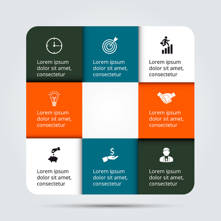 graficas: plantilla de diseño infográfico. Concepto de negocio con 8 opciones, partes, etapas o procesos. Puede ser utilizado para el diseño del flujo de trabajo, diagrama, opciones numéricas, diseño de páginas web. Visualización de datos. Vectores