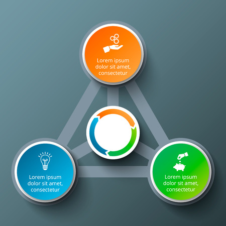 progress steps: triangle with circles for infographic. Template for cycle diagram, graph, presentation and round chart. Business concept with 3 options, parts, steps or processes. Data visualization.