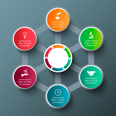 progress steps: hexagon with circles for infographic. Template for cycle diagram, graph, presentation and round chart. Business concept with 6 options, parts, steps or processes. Data visualization.