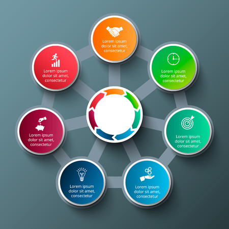 heptagon: heptagon with circles for infographic. Template for cycle diagram, graph, presentation and round chart. Business concept with 7 options, parts, steps or processes. Data visualization.