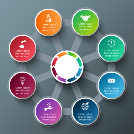 a concept: octagon with circles for infographic. Template for cycle diagram, graph, presentation and round chart. Business concept with 8 options, parts, steps or processes. Data visualization. Illustration