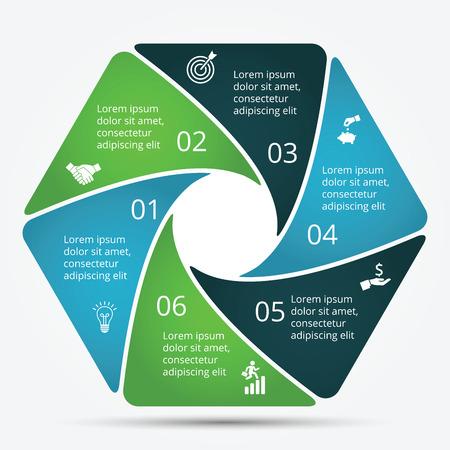 infographic design template. Zakelijk concept met 6 opties, delen, stappen of processen. Kan gebruikt worden voor workflow lay-out, diagram, aantal opties, web design. Data visualisatie.