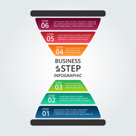 hourglass infographic. Template for diagram, graph, presentation and chart. Business concept with 6 options, parts, steps or processes. Data visualization. Vettoriali