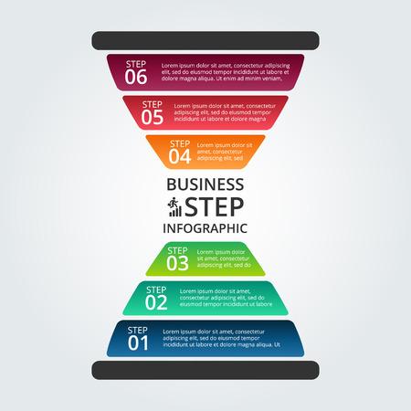 Klepsydra infografika. Szablon do schematu, wykresu, prezentacji i wykresu. Koncepcja biznesowa z 6 opcji, części, etapów lub procesów. Wizualizacja danych.