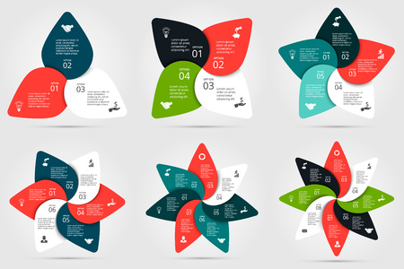 circle infographic. Template for cycle diagram, graph, presentation and round chart. Business concept with 3, 4, 5, 6, 7 and 8 options, parts, steps or processes. Data visualization.