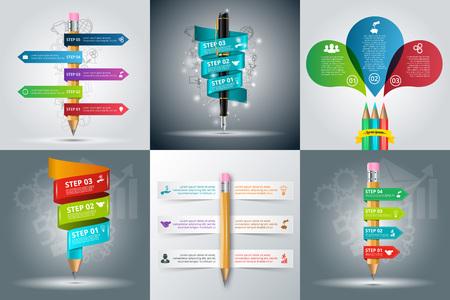 образование: образование инфографики шаблон с карандашом и ручкой. Бизнес-концепция с 3, 4, 5 и 6 вариантов, частей, этапов. Может использоваться для размещения рабочих процессов, диаграммы, варианты количество, веб-дизайн.