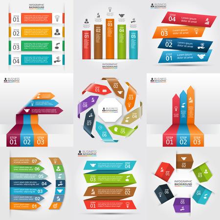 concepto: Las flechas y rayas infografía conjunto. Concepto de negocio con 3, 4, 5, 6, 7 y 8 opciones, partes, etapas o procesos. Puede ser utilizado para el diseño de flujo de trabajo, diagrama, opciones de número, diseño de páginas web. Vectores