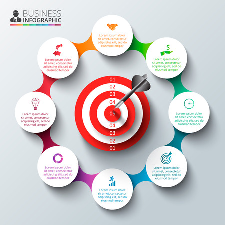 project: infographic design template with target. Business concept with options, parts, steps or processes. Can be used for workflow layout, diagram, number options, web design. Data visualization.