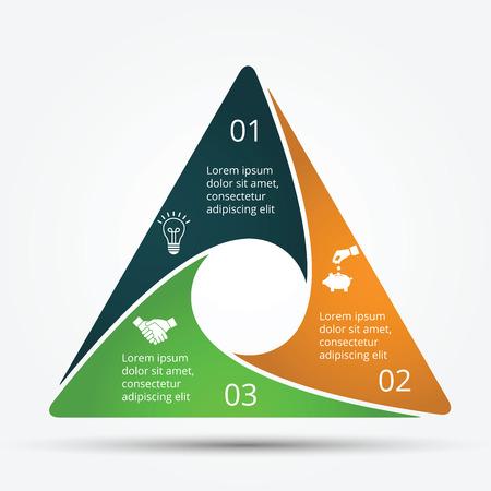 gráfico: modelo de design infográfico. Conceito do negócio com 3 opções, partes, etapas ou processos. Pode ser usado para o layout do fluxo de trabalho, diagrama, opções de números, web design. visualização de dados. Ilustração