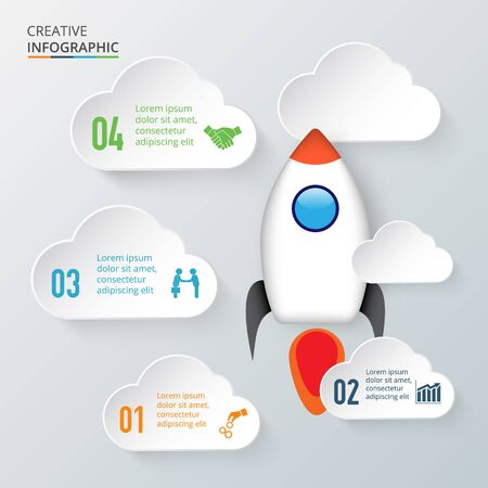 the project: concept of startup new business project infographic with rocket and clouds.