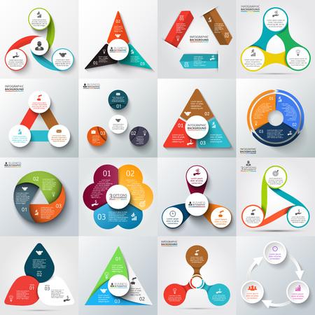 情報グラフィックの矢印、三角形、円などの大きなセット。  イラスト・ベクター素材