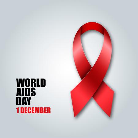 aids awareness ribbon: World Aids Day concept with red aids awareness ribbon illustration.