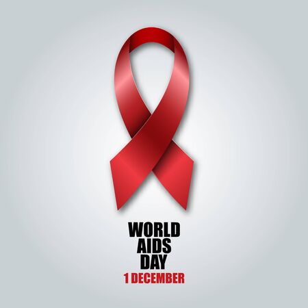 aids virus: World Aids Day concept with red aids awareness ribbon Illustration