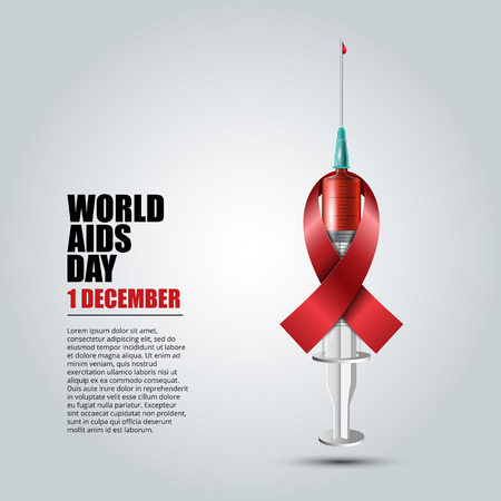 World Aids Day concept with syringe and red aids awareness ribbon illustration.