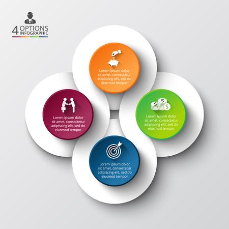 Vector Infografik Design-Vorlage. Business-Konzept mit vier Optionen, Teile, Schritte oder Prozesse. Kann für die Workflow-Layout, Diagramm, Anzahl Optionen, Web-Design verwendet werden. Datenvisualisierung. Standard-Bild - 48779815