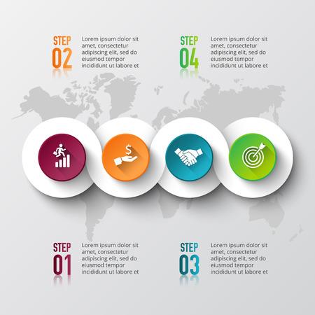 インフォ グラフィックの要素を持つベクトル世界地図。図、グラフ、プレゼンテーションのテンプレートです。4 のオプション、部品、ステップや