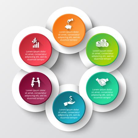 ベクター インフォ グラフィック デザイン テンプレートです。66options、部品、ステップやプロセスのビジネス コンセプトです。ワークフローのレイ
