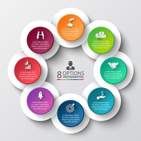 Vector Infografik Design-Vorlage. Business-Konzept mit acht Optionen, Teile, Schritte oder Prozesse. Kann für die Workflow-Layout, Diagramm, Anzahl Optionen, Web-Design verwendet werden. Datenvisualisierung. Standard-Bild - 48779820