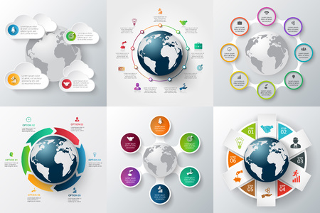 ベクター インフォ グラフィック グローバル テンプレート セットです。ワークフローのレイアウト、バナー、図、web デザイン、インフォ グラフィ  イラスト・ベクター素材