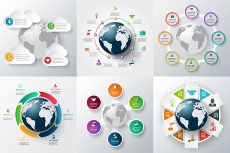 Vector Infografiken globale Vorlage Set. Kann für die Workflow-Layout, Banner, Diagramm, Web-Design, Infografik-Vorlage verwendet werden. Standard-Bild - 48801257