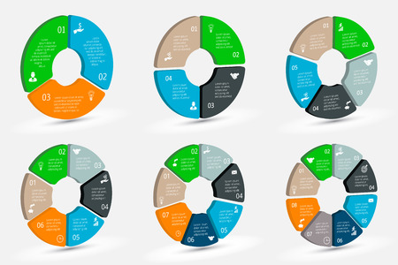 4 5: Vector isometric circle element for infographic. Template for cycle diagram, graph, presentation and round chart. Business concept with 3, 4, 5, 6, 7 and 8 options, parts, steps or processes.