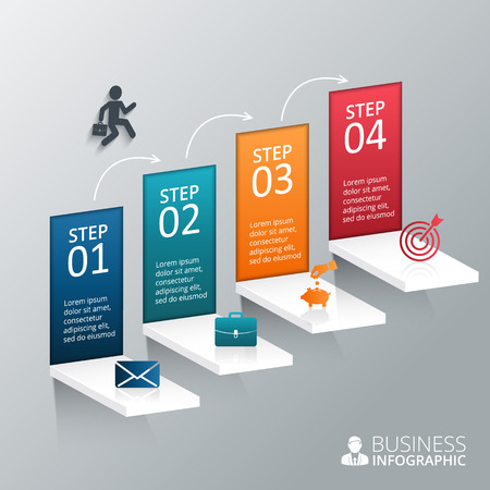 steps to success: Vector illustration of the 4 steps to success. Can be used for infographic, banner, diagram, step up options. Illustration
