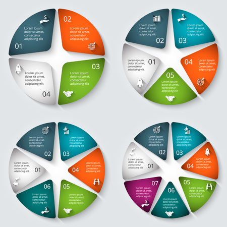 5 7: Vector infographic design template. Business concept with 4, 5, 6 and 7 options, parts, steps or processes. Can be used for workflow layout, diagram, number options, web design. Data visualization.