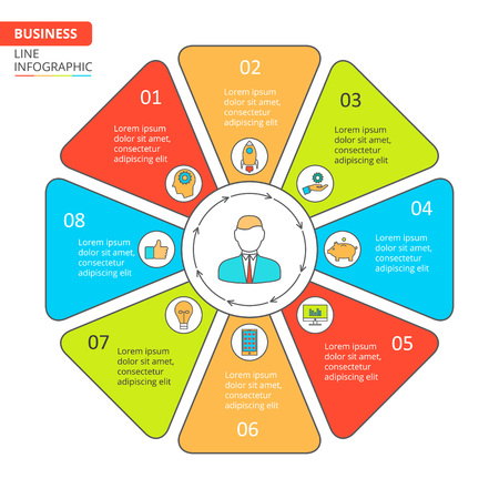 data line: Thin line flat octagon for infographic. Template for cycle diagram, graph, presentation and round chart. Business concept with 8 options, parts, steps or processes. Data visualization. Illustration