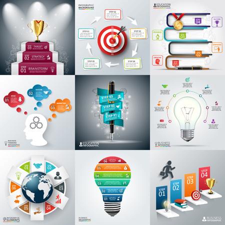 Infografik Business Template-Set. Vektor-Illustration. kann für die Workflow-Layout, Banner, Diagramm, Anzahl Optionen, Web-Design, Timeline-Elemente verwendet werden,