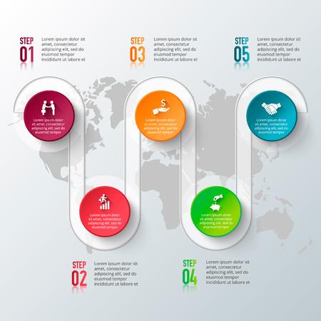 インフォ グラフィックの要素を持つベクトル世界地図。図、グラフ、プレゼンテーションのテンプレートです。5 のオプション、部品、ステップや