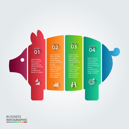 budget: Vector piggy bank element for infographic. Template for diagram, graph, presentation and chart. Business concept with 4 options, parts, steps or processes. Abstract background