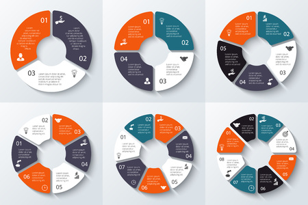 six: Vector circle element for infographic. Template for cycle diagram, graph, presentation and round chart. Business concept 3, 4, 5, 6, 7 and 8 with options, parts, steps or processes.