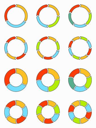 flecha: plana delgada línea segmentada y gráficos circulares multicolores y flechas conjunto con 3, 4, 5, 6, 7 y 8 divisiones. Plantilla para el diagrama, gráfica, la presentación y el gráfico.