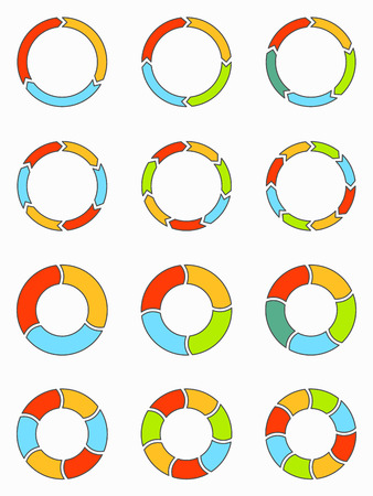 6 7: Thin line flat segmented and multicolored pie charts and arrows set with 3, 4, 5, 6, 7 and 8 divisions. Template for diagram, graph, presentation and chart. Illustration