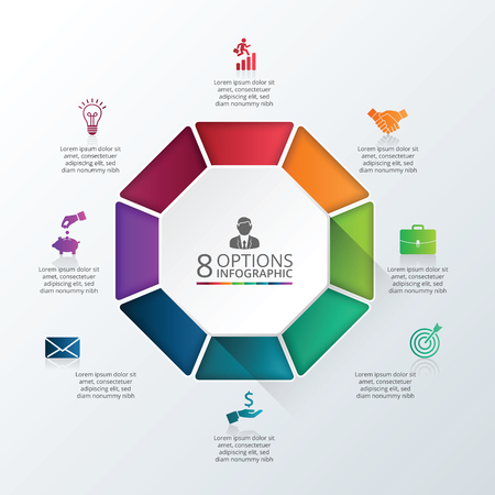 Vector infographic octagon design template. Business concept with 8 options, parts, steps or processes. Can be used for workflow layout, diagram, number options, web design. Data visualization.