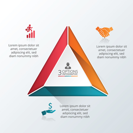 Vector infographic triangle design template. Business concept with 3 options, parts, steps or processes. Can be used for workflow layout, diagram, number options, web design. Data visualization.