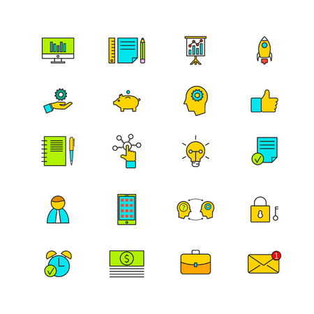 human icons: Line icons with flat design elements of business, market strategy vision, digital marketing.