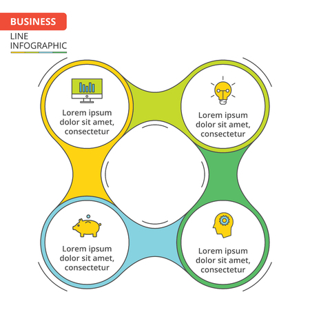 data line: Thin line flat element for infographic. Template for cycle diagram, graph, presentation and round chart. Business concept with 4 options, parts, steps or processes. Data visualization.