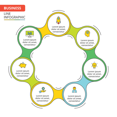 heptagon: Thin line flat element for infographic. Template for cycle diagram, graph, presentation and round chart. Business concept with 7 options, parts, steps or processes. Data visualization. Illustration