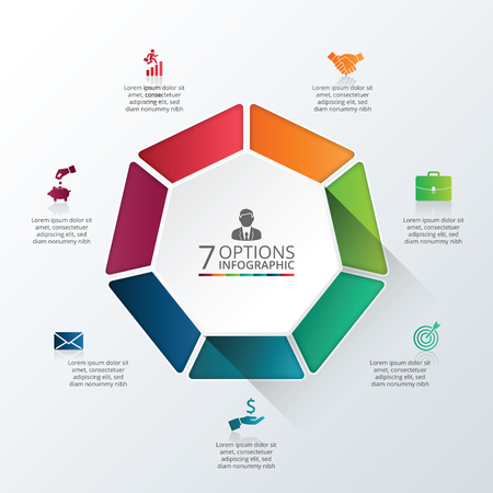 Vector infographic heptagon design template. Business concept with 7 options, parts, steps or processes. Can be used for workflow layout, diagram, number options, web design. Data visualization.