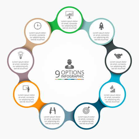 Vector circle element for infographic. Template for cycle diagram, graph, presentation and round chart. Business concept with 9 options, parts, steps or processes. Abstract background. Illustration
