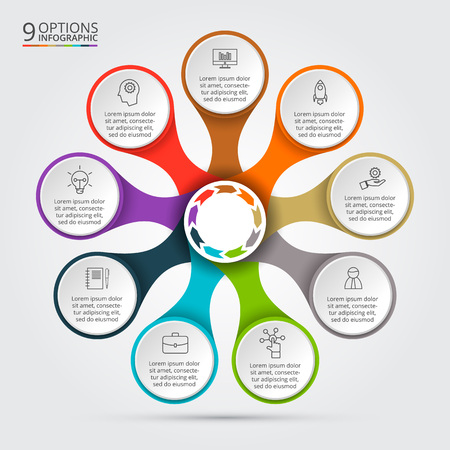 steps: Vector infographic design template. Business concept with 9 options, parts, steps or processes. Can be used for workflow layout, diagram, number options, web design. Data visualization.