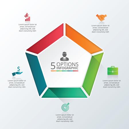 ベクター インフォ グラフィック ペンタゴン デザイン テンプレートです。5 のオプション、部品、ステップやプロセスのビジネス コンセプトです。