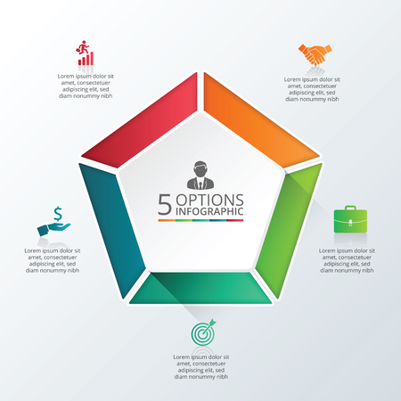 Vector infographic pentagon design template. Business concept with 5 options, parts, steps or processes. Can be used for workflow layout, diagram, number options, web design. Data visualization. Illustration