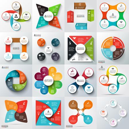 diagrama: Gran conjunto de flechas de vector, cuadrados, círculos y otros elementos para la infografía. Plantilla de diagrama de ciclo, gráfico, presentación. Concepto de negocio con 4 opciones, partes, etapas o procesos.