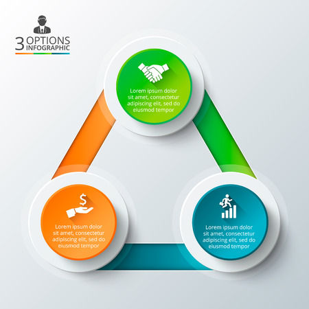 Vector triangle for infographic. Template for cycle diagram, graph, presentation and round chart. Business concept with 3 options, parts, steps or processes. Data visualization.